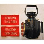 A lot containing 2 x Cloth Arm Bands BREAKDOWN TRAIN GUARD together with a BR standard Hand lamp
