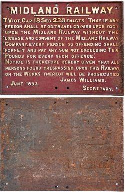 MIDLAND RAILWAY Cast Iron Trespass sign. NOTICE to TRESPASSERS James Williams June 1893.