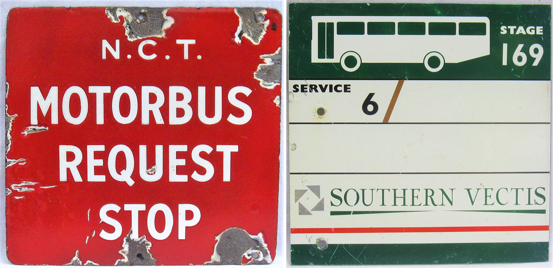 Double sided enamel Bus stop sign. NCT MOTOR BUS REQUEST STOP. Nottingham City Transport. Measures