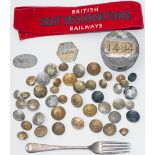 A selection of railway buttons; LYR, GNR, LSWR, MIDLAND, LMS, GWR, LMS&LNE, GER, L&NWR, MARINE, TAFF