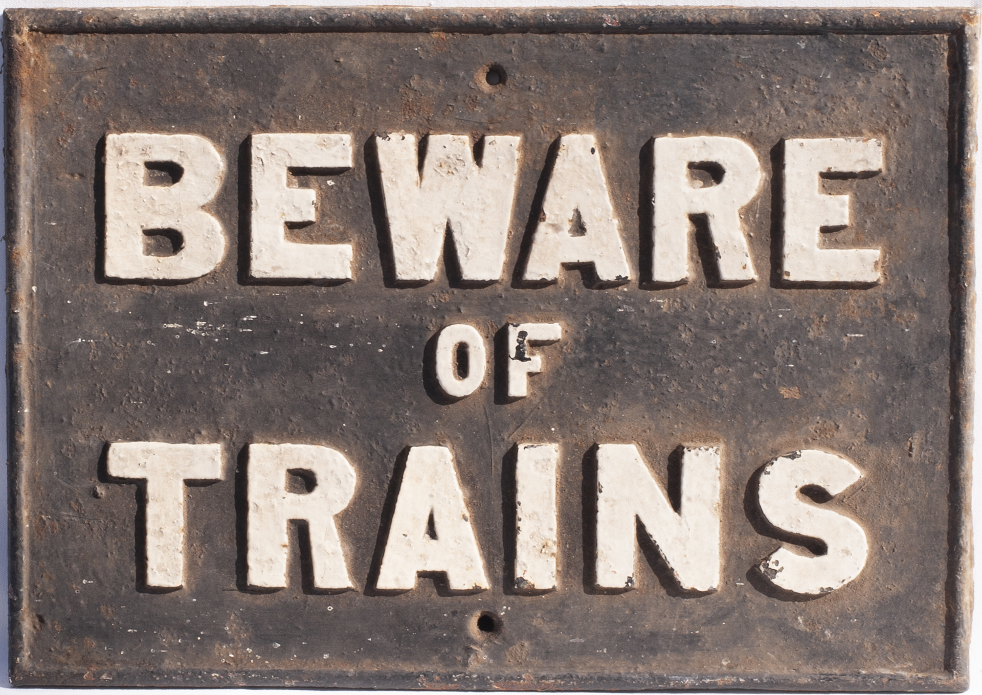 Cambrian Railway Cast Iron Sign. BEWARE OF TRAINS. Measures 20in x 14.5 in. Not often seen.