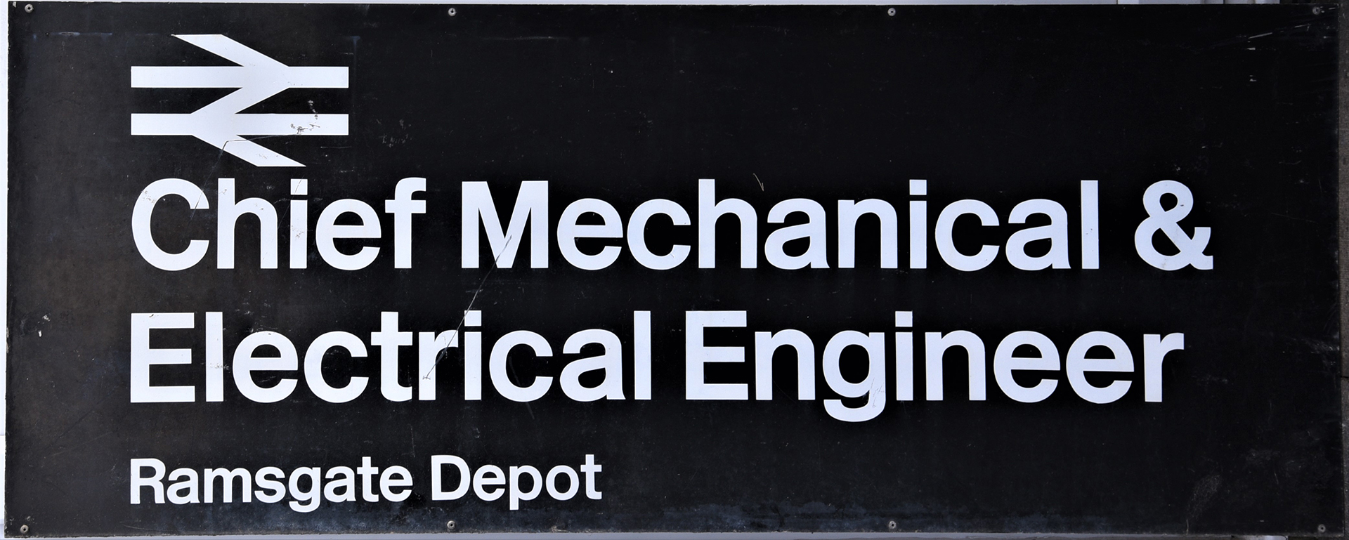 Modern image railway sign. CHIEF MECHANICAL and ELECTRICAL ENGINEER RAMSGATE DEPOT.