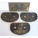4 x cast iron Wagon Plates . D Plate GWR 12T 121465. D Plate LNER 20T 181365. D Plate SR 13T 12703