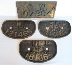4 x cast iron Wagon Plates . D Plate GWR 12T 121465. D Plate LNER 20T 181365. D Plate SR 13T 12703