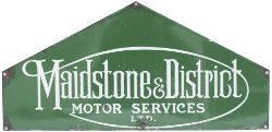 Bus enamel timetable heading MAIDSTONE & DISTRICT MOTOR SERVICES LTD. In good condition with some