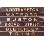 BR(M) Carriage Boards x 3 BROAD STREET/EUSTON, NORTHAMPTON/BLETCHLEY and TRING/WATFORD. All are in
