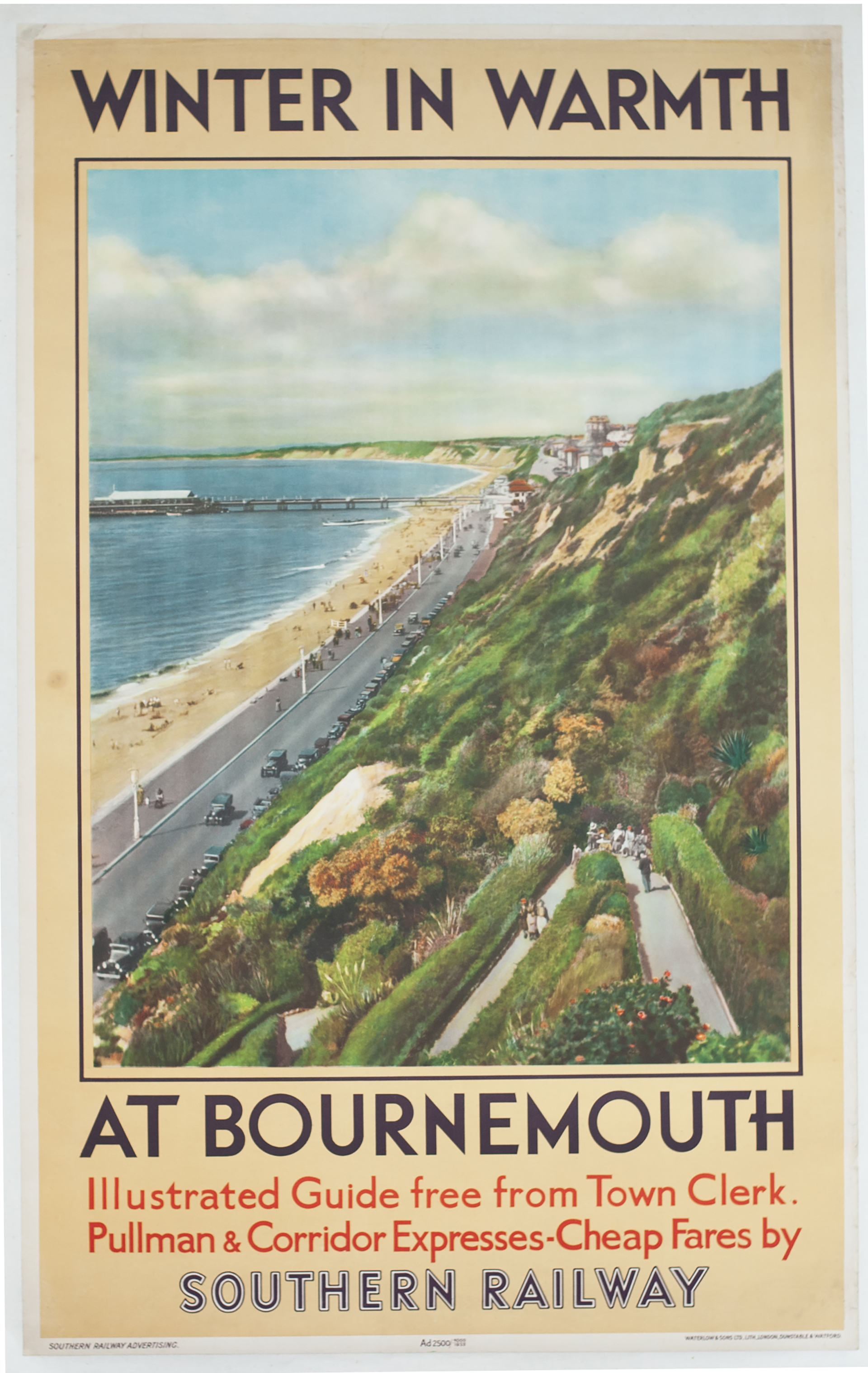 Poster Southern Railway WINTER IN WARMTH AT BOURNEMOUTH, anon, issued in 1933. Double Royal 25in x