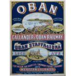 Poster CALLANDER & OBAN RAILWAY OBAN LOCH AWE, FORT WILLIAM etc FOR PARTICULARS SEE LONDON & NORTH