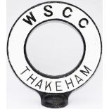 Road sign WSCC THAKEHAM. From the top of a road finger post sign. The village is in West Sussex 12