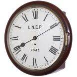 Great Northern Railway 12in mahogany cased fusee railway clock supplied to the GNR circa 1880-