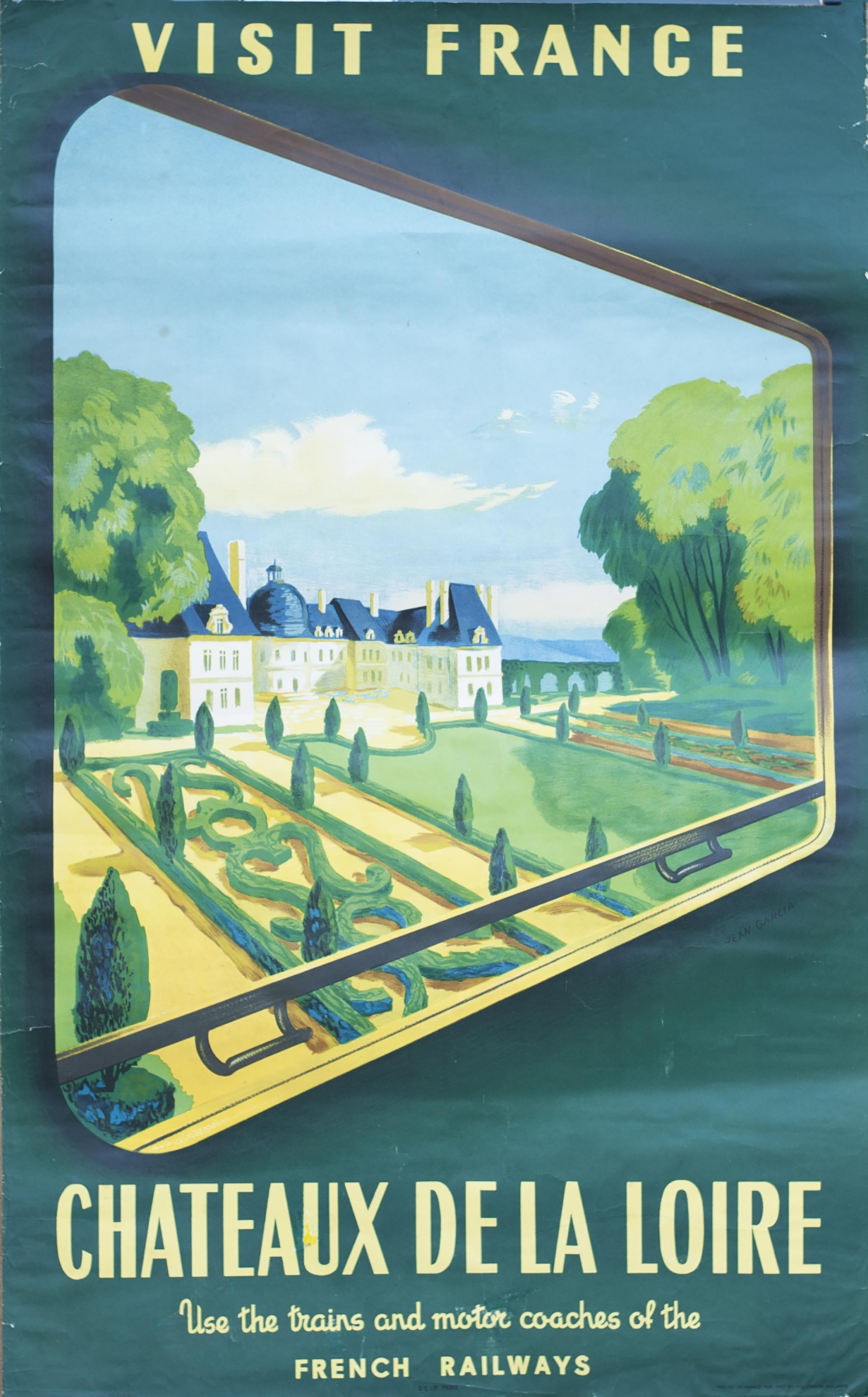 Poster SNCF VISIT FRANCE CHATEAUX DE LA LOIRE by Jean Garcia issued in 1952. Double Royal 25in x