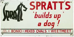 Advertising sign SPRATT'S BUILDS UP A DOG BONIO MIXED OVALS WEETMEET. This is one of the later