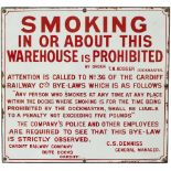 Cardiff Railway enamel sign re SMOKING IN OR ABOUT THE WAREHOUSE IS PROHIBITED signed T.N.PROSSER