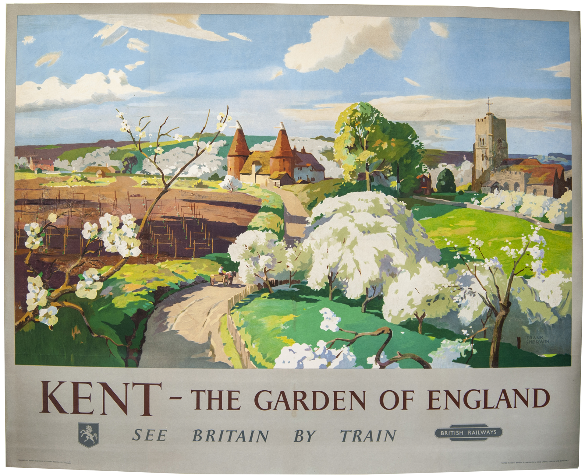 Poster BR(S) KENT THE GARDEN OF ENGLAND by Frank Sherwin issued in 1955. Quad Royal 50in x 40in.
