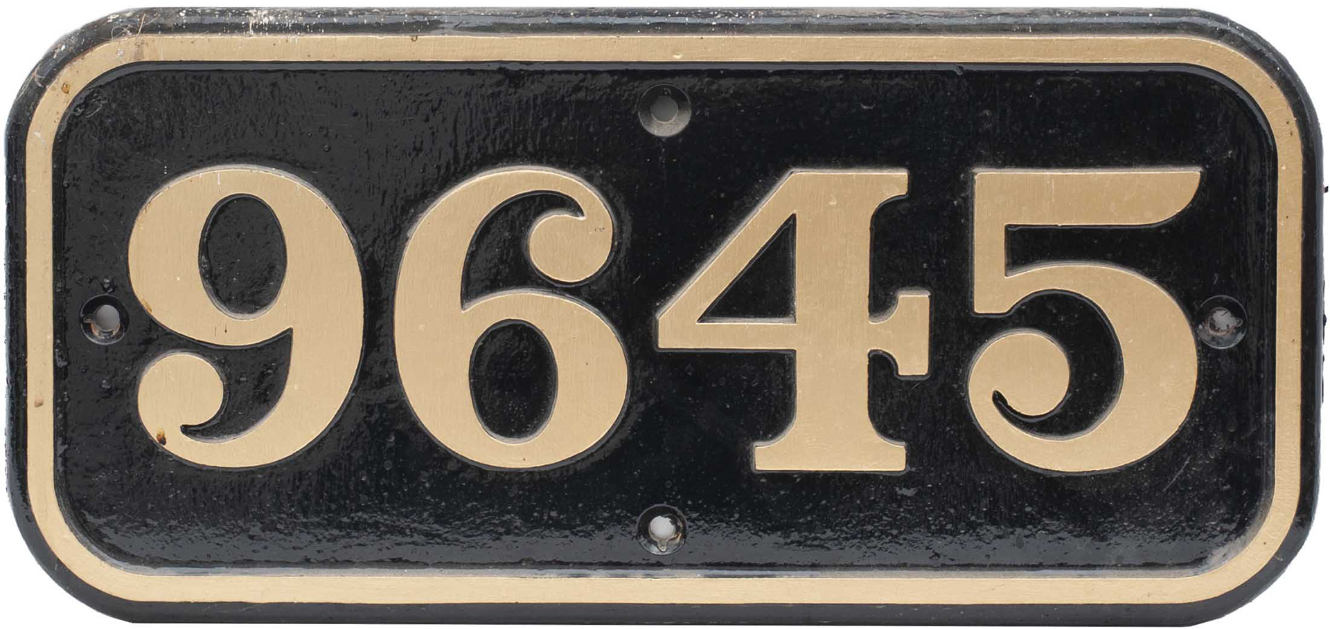 GWR cast iron cabside numberplate 9645 ex Collett 0-6-0 PT built at Swindon in 1946. Allocated to