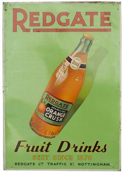 Advertising sign REDGATE FRUIT DRINKS BEST SINCE 1878 REDGATE LTD TRAFFIC ST NOTTINGHAM ORANGE