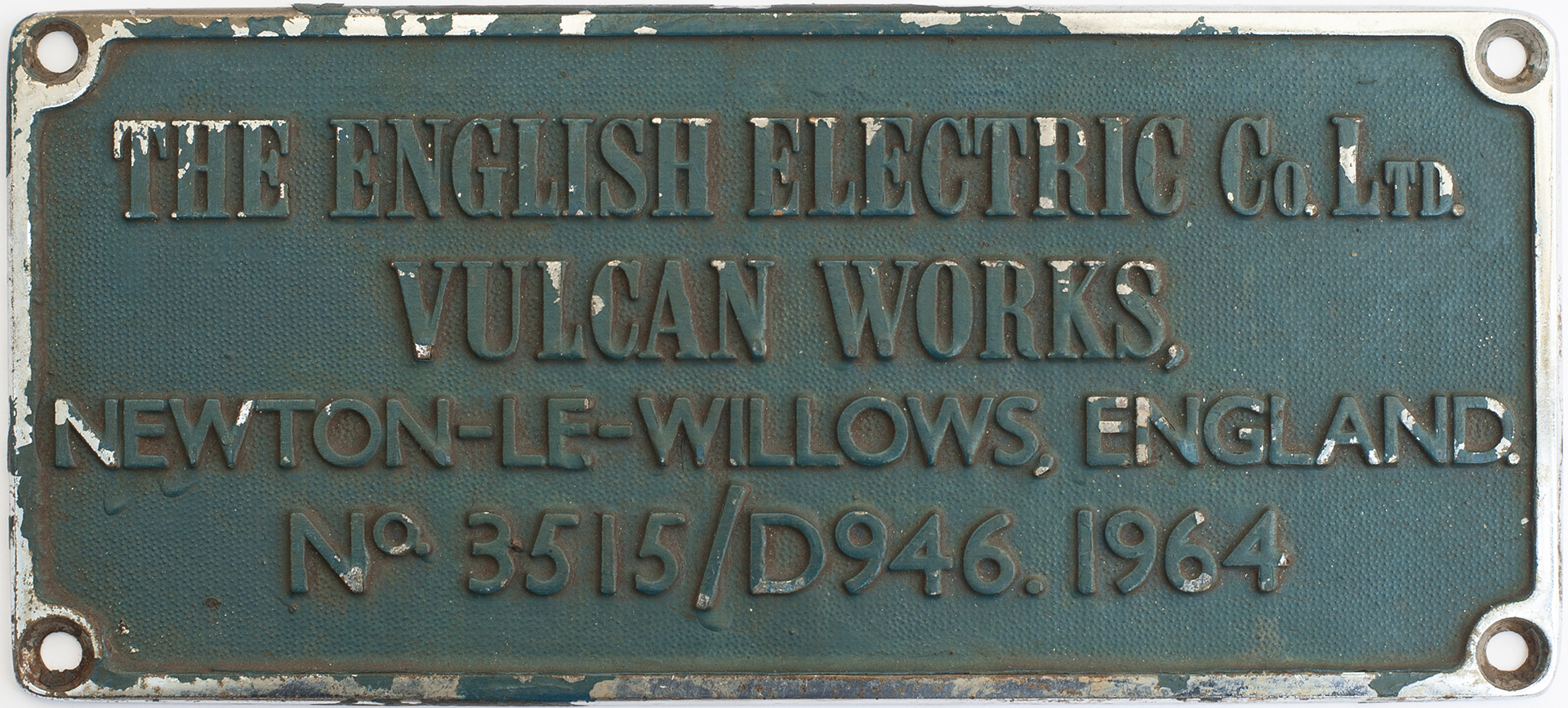 Worksplate THE ENGLISH ELECTRIC CO LTD VULCAN WORKS NEWTON-LE-WILLOWS ENGLAND No 3515/D946 1964 ex