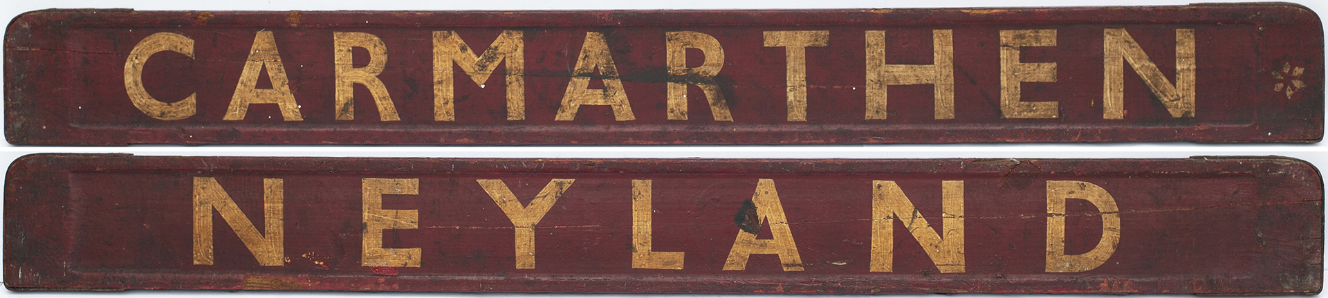 BR-W carriage board NEYLAND - CARMARTHEN. Wood with steel ends, in good condition with a split.