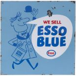 Advertising enamel sign WE SELL ESSO BLUE PARAFFIN. Double sided with wall mounting flange, both
