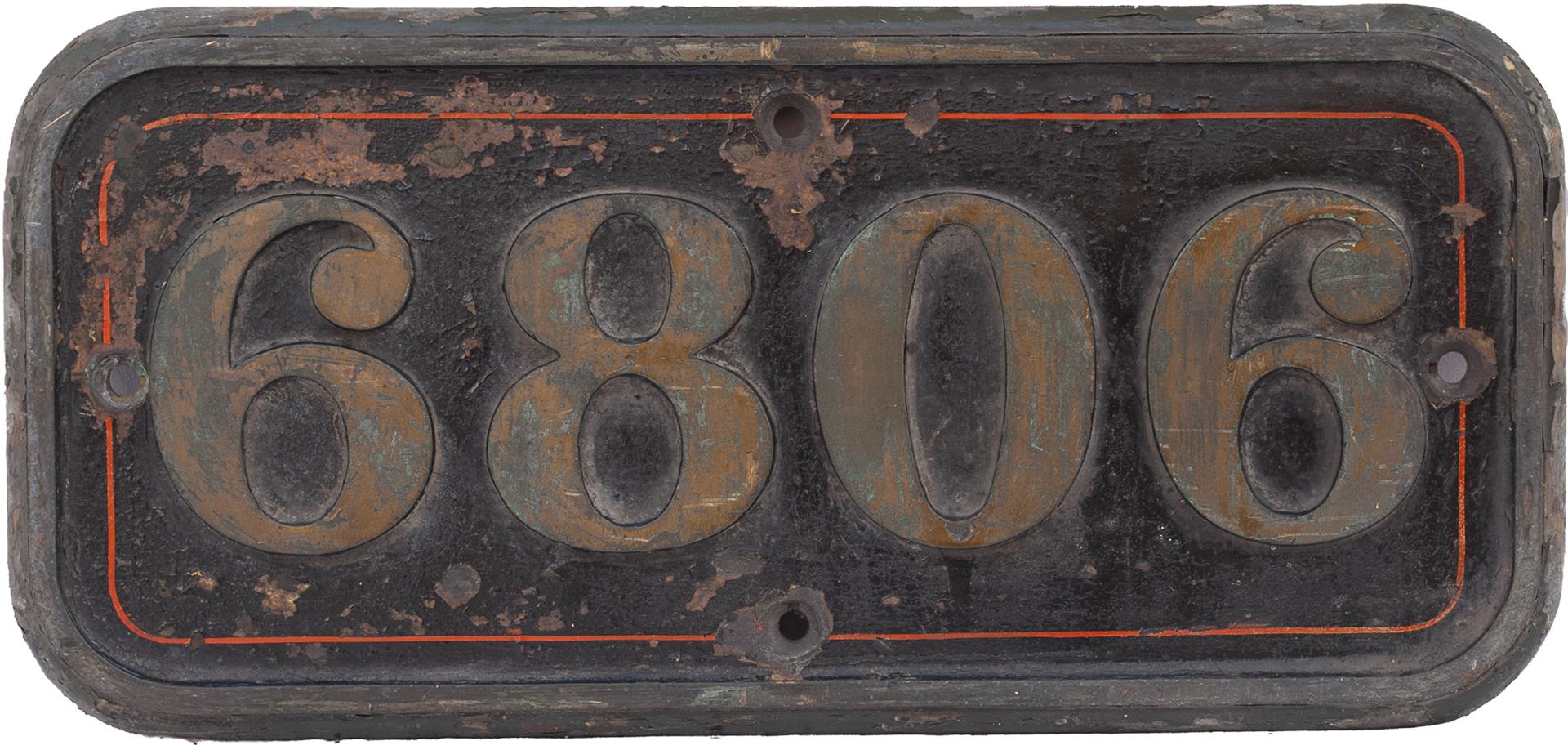 GWR brass cabside numberplate 6806 ex Collett Grange class 4-6-0 named Blackwell Grange. In original