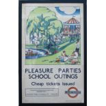 Poster LT PLEASURE PARTIES SCHOOL OUTINGS by J. Arnrid issued in 1934. Double Royal 25in x 40in. The