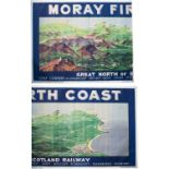 Poster GREAT NORTH OF SCOTLAND RAILWAY MORRAY FIRTH COAST by D. N. A. listing all the golf courses