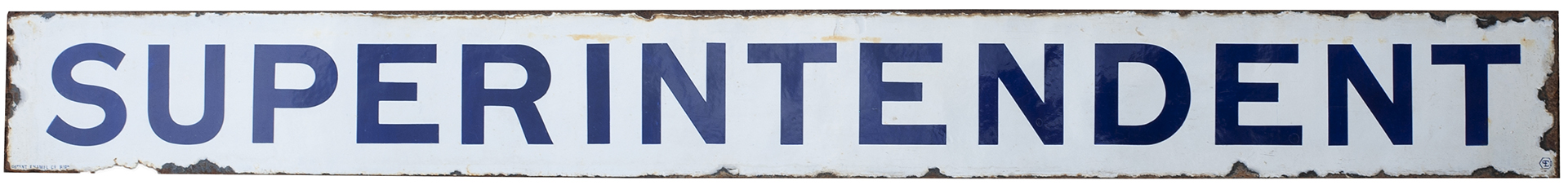 Great Western Railway pre grouping enamel station platform sign SUPERINTENDENT. In very good