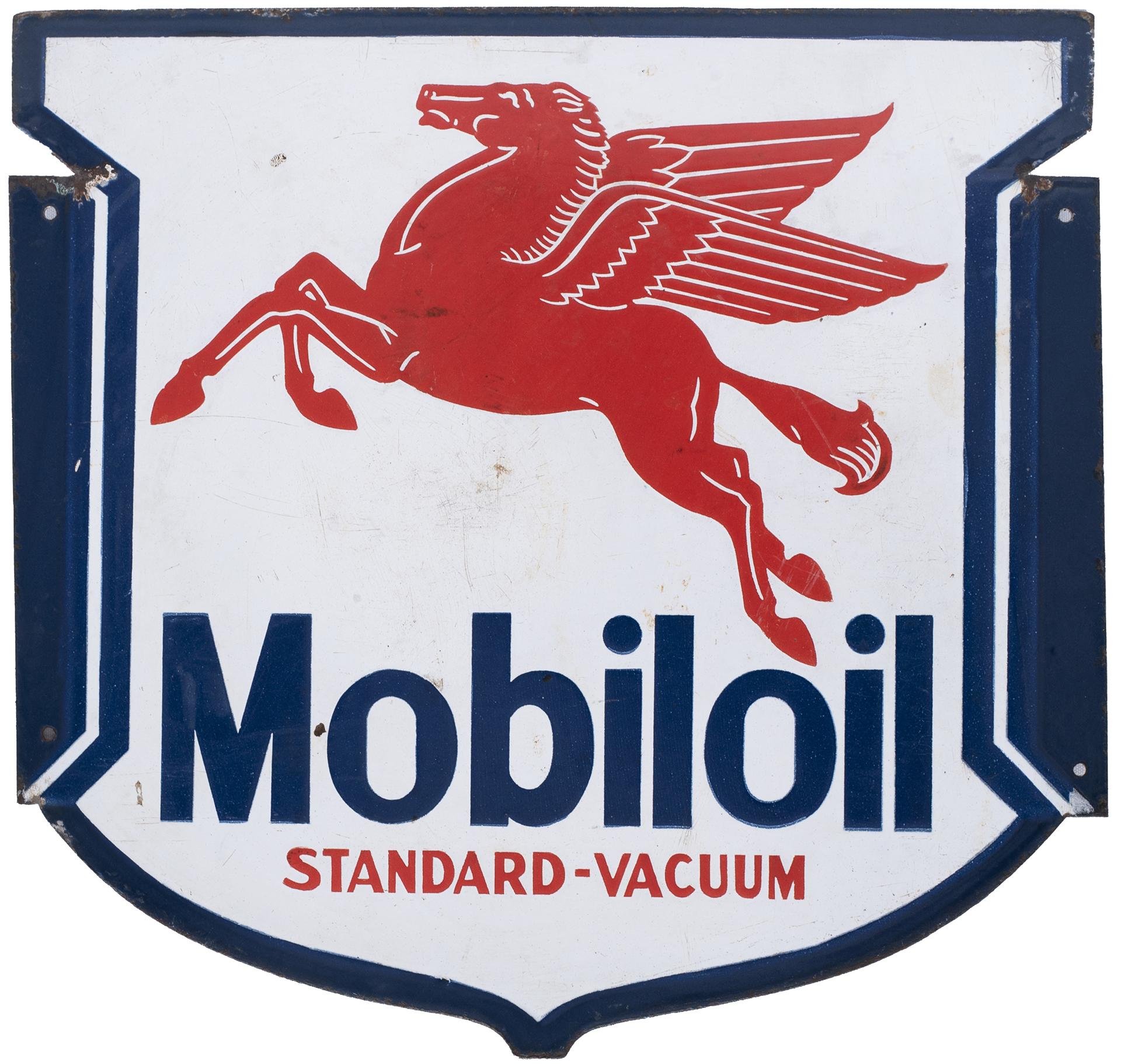 Advertising enamel motoring sign MOBILOIL STANDARD-VACUUM. Double sided, both sides in very good