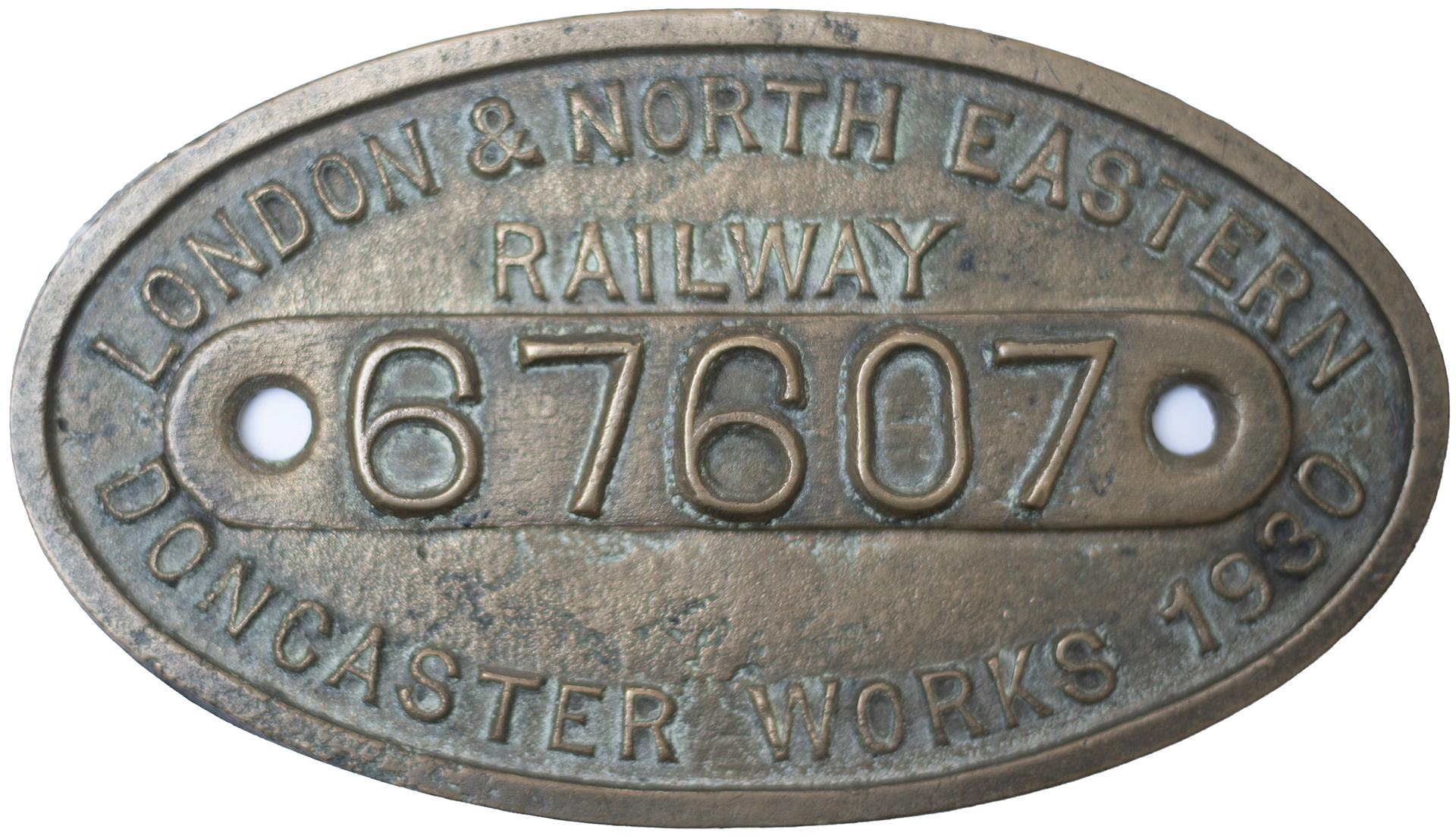Worksplate LONDON & NORTH EASTERN RAILWAY BUILT DONCASTER WORKS 1930 67607 ex LNER V1/V3 2-6-2T LNER