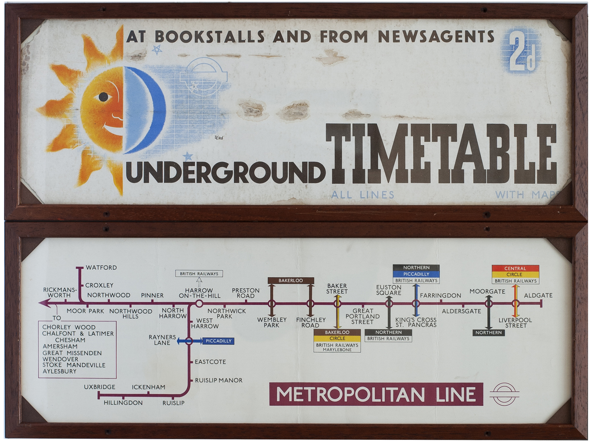 METROPOLITAN LINE Railway Carriage Panel Line Diagram issued March 1959, together with a carriage