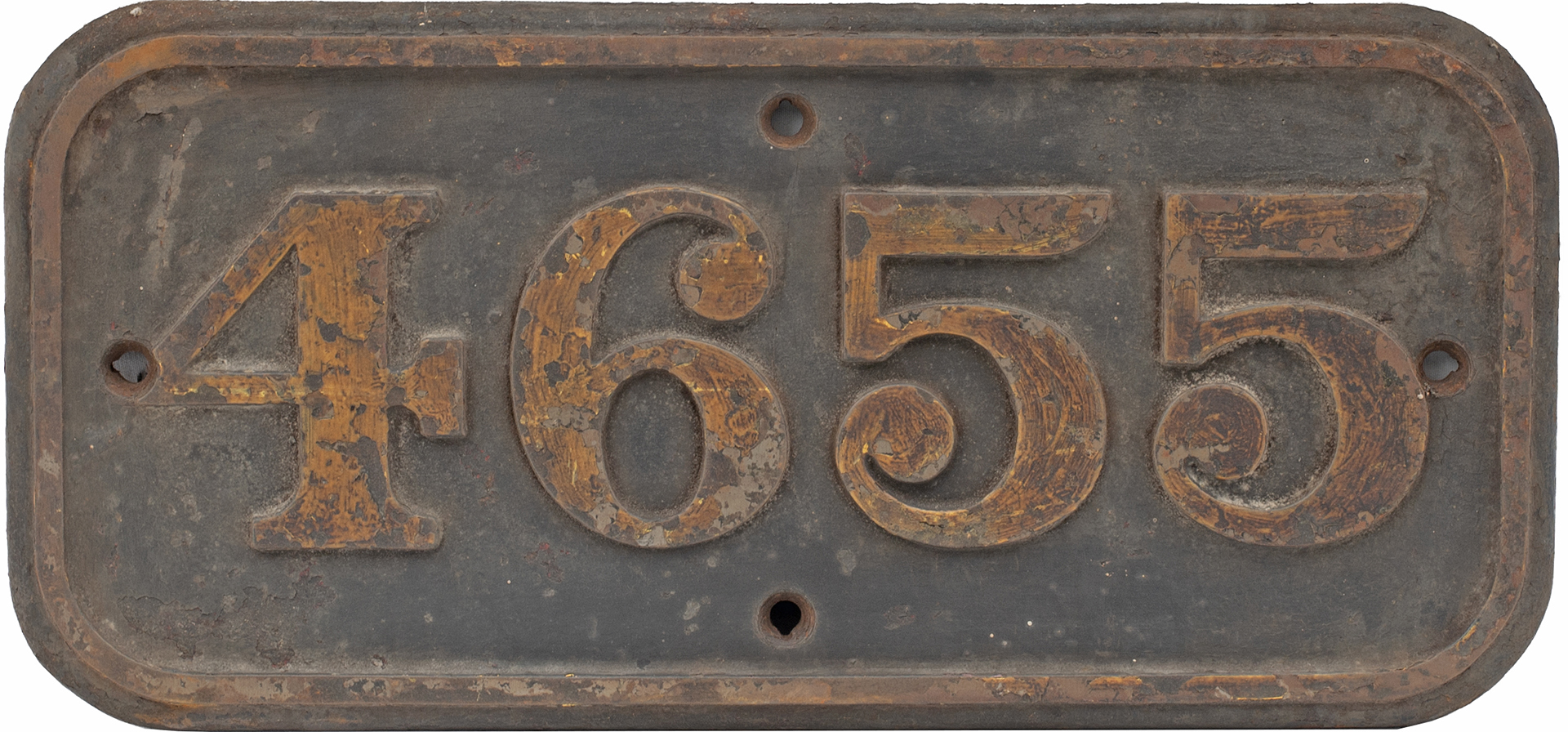 GWR cast iron cabside numberplate 4655 ex Collett 0-6-0 PT built at Swindon in 1943. Allocated to
