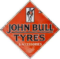 Advertising enamel sign JOHN BULL TYERS & ACCESSORIES. Double sided, both sides in good condition