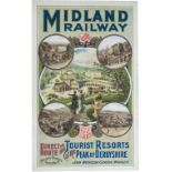 Poster MIDLAND RAILWAY BUXTON DIRECT ROUTE TO THE TOURISTS RESORTS OF THE PEAK OF DERBYSHIRE. Double