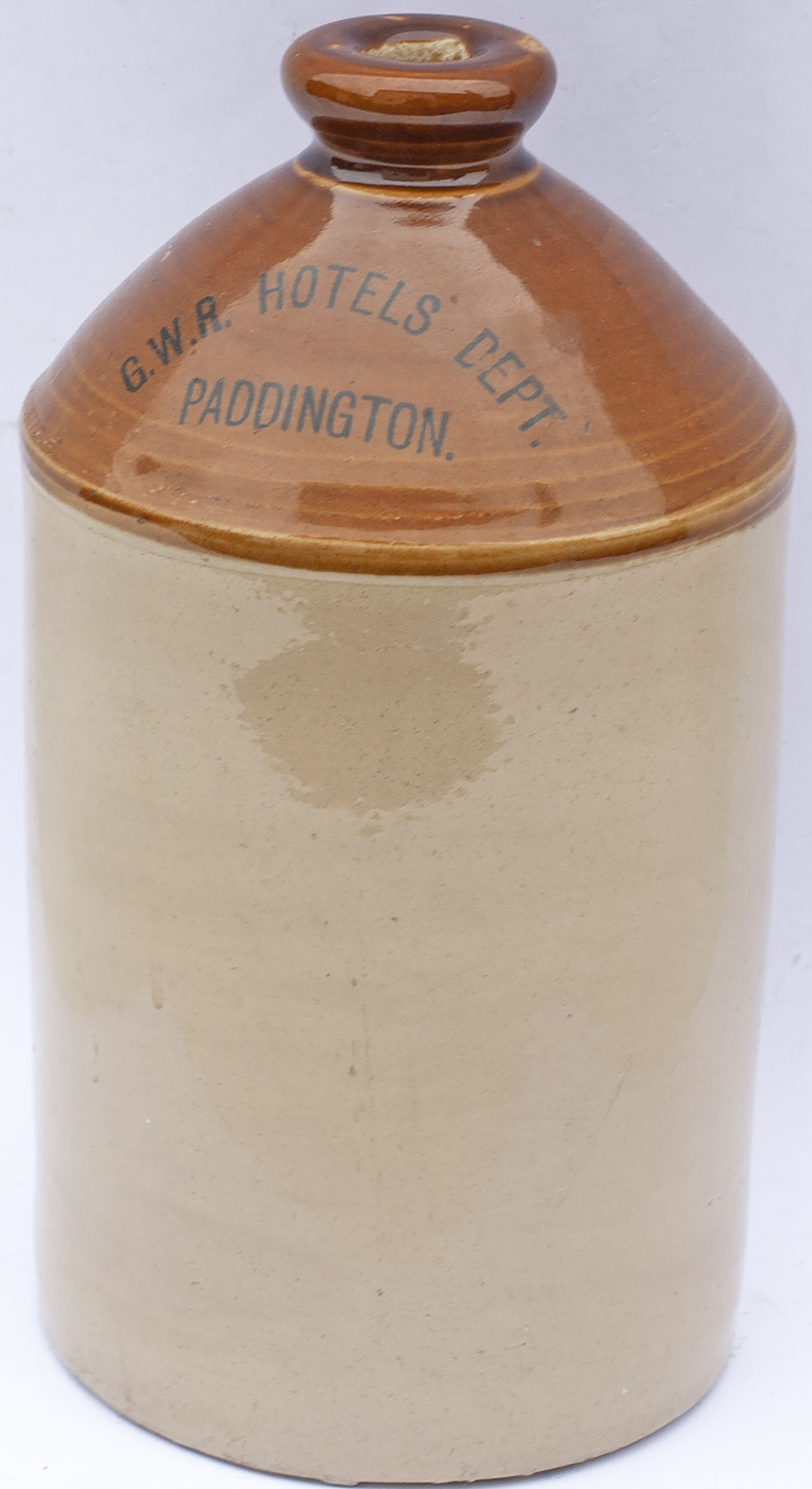 Great Western Railway stoneware FLAGON lettered to the front G.W.R HOTELS DEPT PADDINGTON and