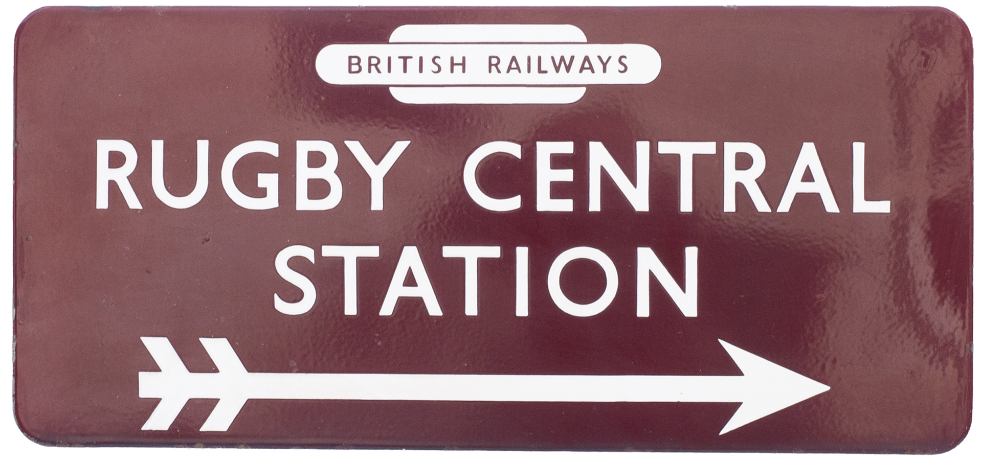 BR(M) FF enamel station direction sign RUGBY CENTRAL STATION with right facing arrow and British