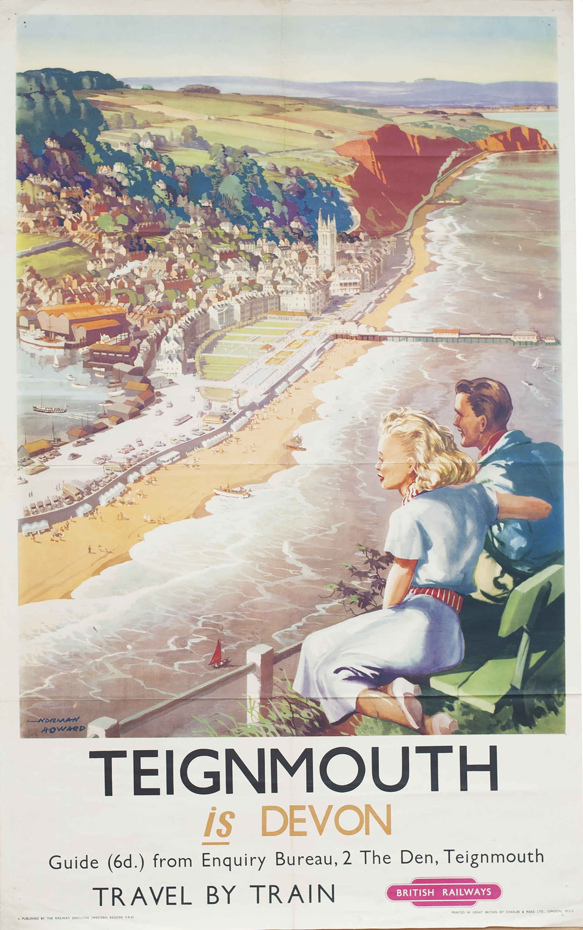 Poster BR(W) TEIGNMOUTH IS DEVON by Norman Howard. Double Royal 25in x 40in. In very good