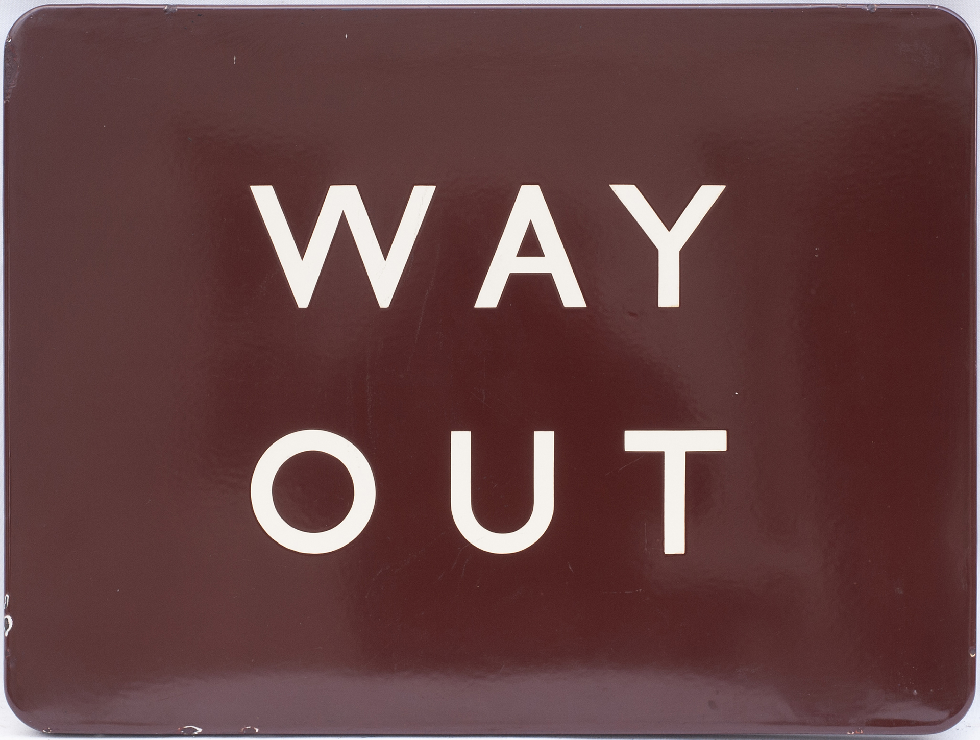 BR(W) FF enamel station sign WAY OUT. In excellent condition measuring 24in x 18in.