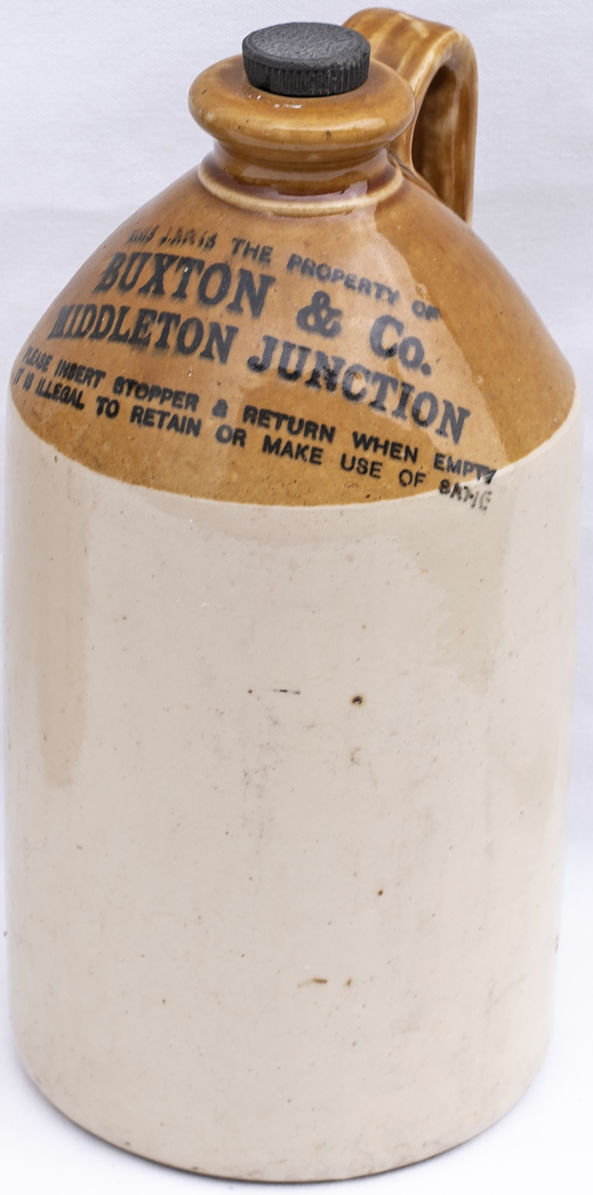 Stoneware flagon BUXTON & Co MIDDLETON JUNCTION embossed with makers name PRICE BRISTOL. In