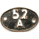 Shedplate 52A Brass Gateshead 1950-1973. In lightly cleaned condition with yellow and red paint