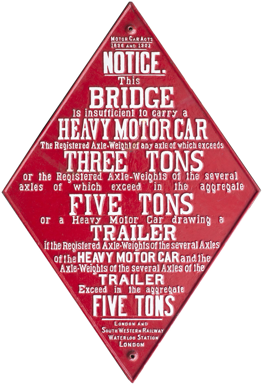 London & South Western Railway cast iron bridge restriction sign MOTOR CAR ACTS 1896 1903 LONDON &