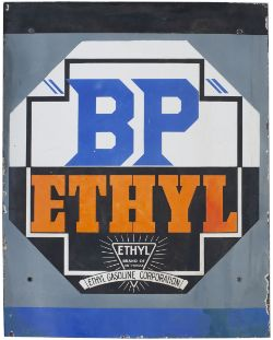 Advertising motoring enamel sign BP ETHYL GASOLINE CORPORATION. In very good condition with some