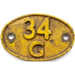 Shedplate 34G Finsbury Park 1960-1973 with a sub shed of Hornsey 1961-1971. In as removed