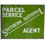 Bus motoring enamel sign SOUTHERN NATIONAL PARCEL SERVICE AGENT. Double sided with wall mounting