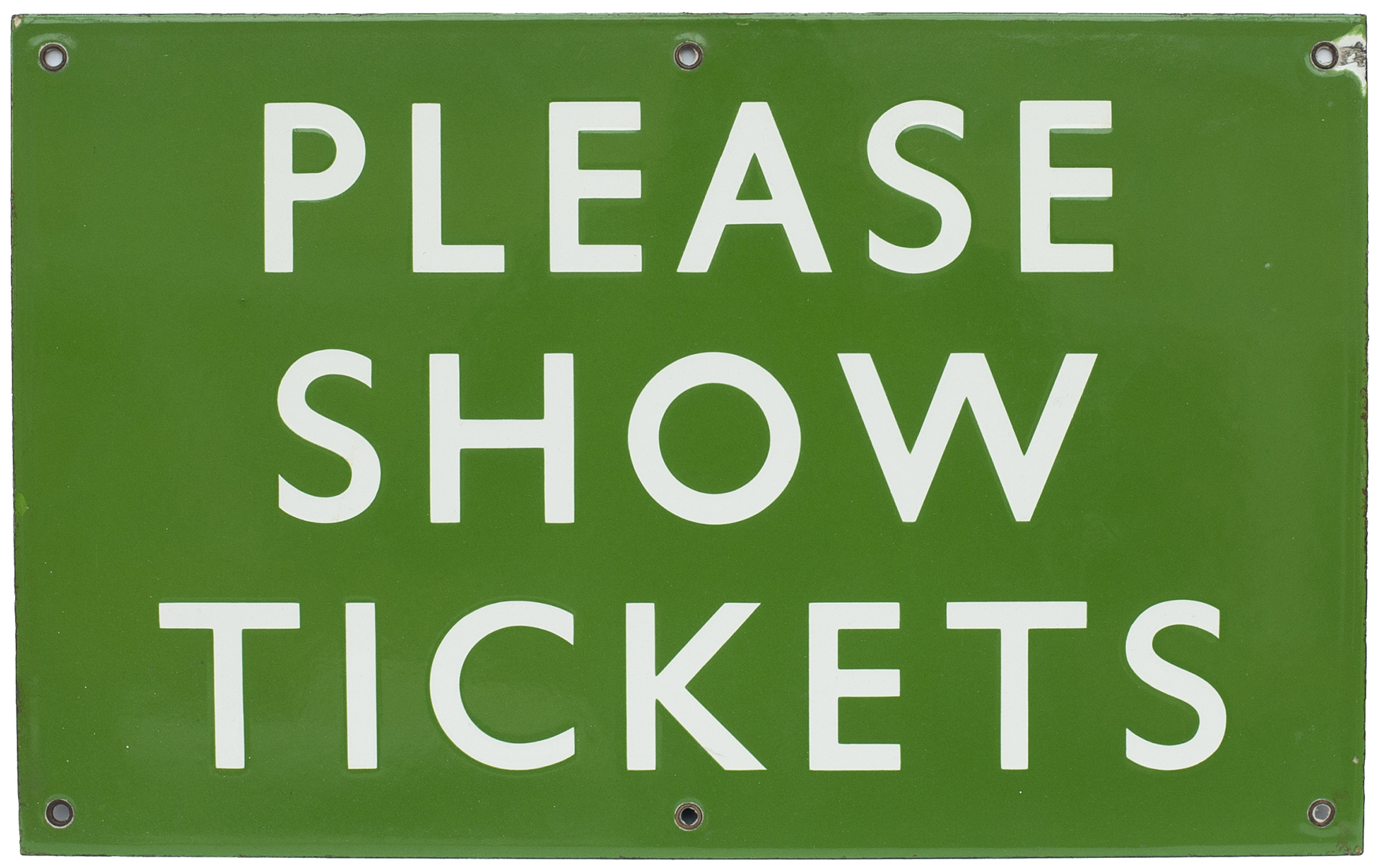 BR(S) enamel railway sign PLEASE SHOW TICKETS measuring 16in x 10in. In excellent condition with one