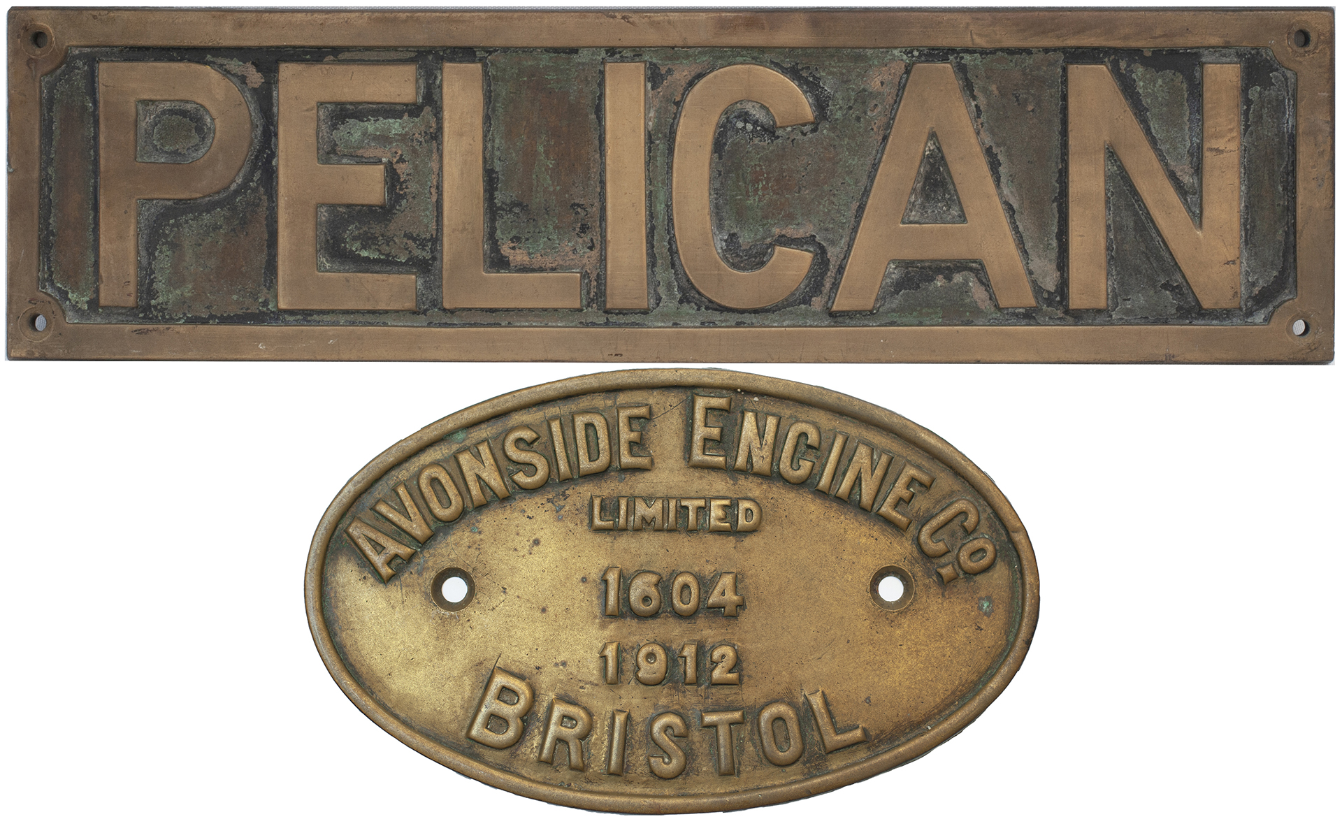 Nameplate PELICAN together with its matching worksplate AVONSIDE ENGINE Co LIMITED BRISTOL 1604