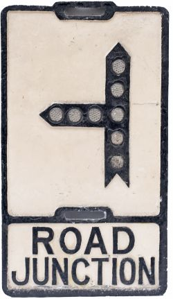 Road sign ROAD JUNCTION. Cast aluminium with glass fruit gum reflectors and makers name cast at