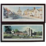 Carriage Prints x 2. BRACKLEY, NORTHAMPTONSHIRE by Charles Knight R.W.S. from the London Midland B