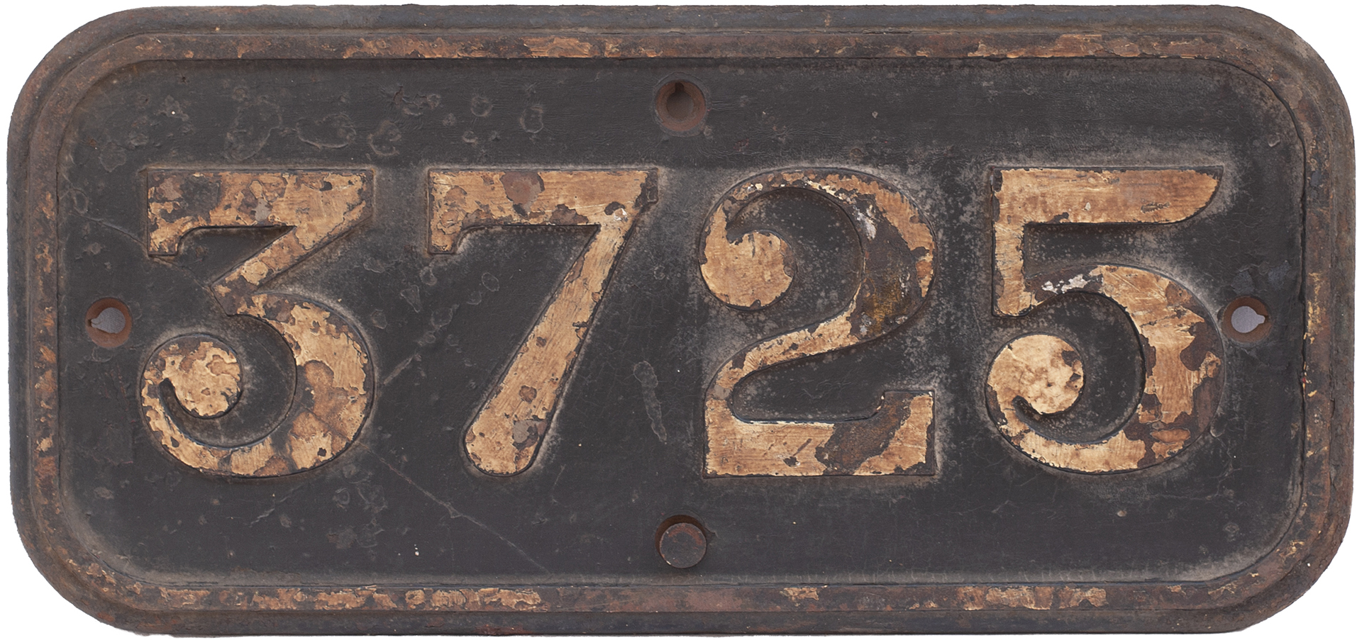 GWR cast iron cabside numberplate 3725 ex Collett 0-6-0 PT built at Swindon in 1937. Allocated to