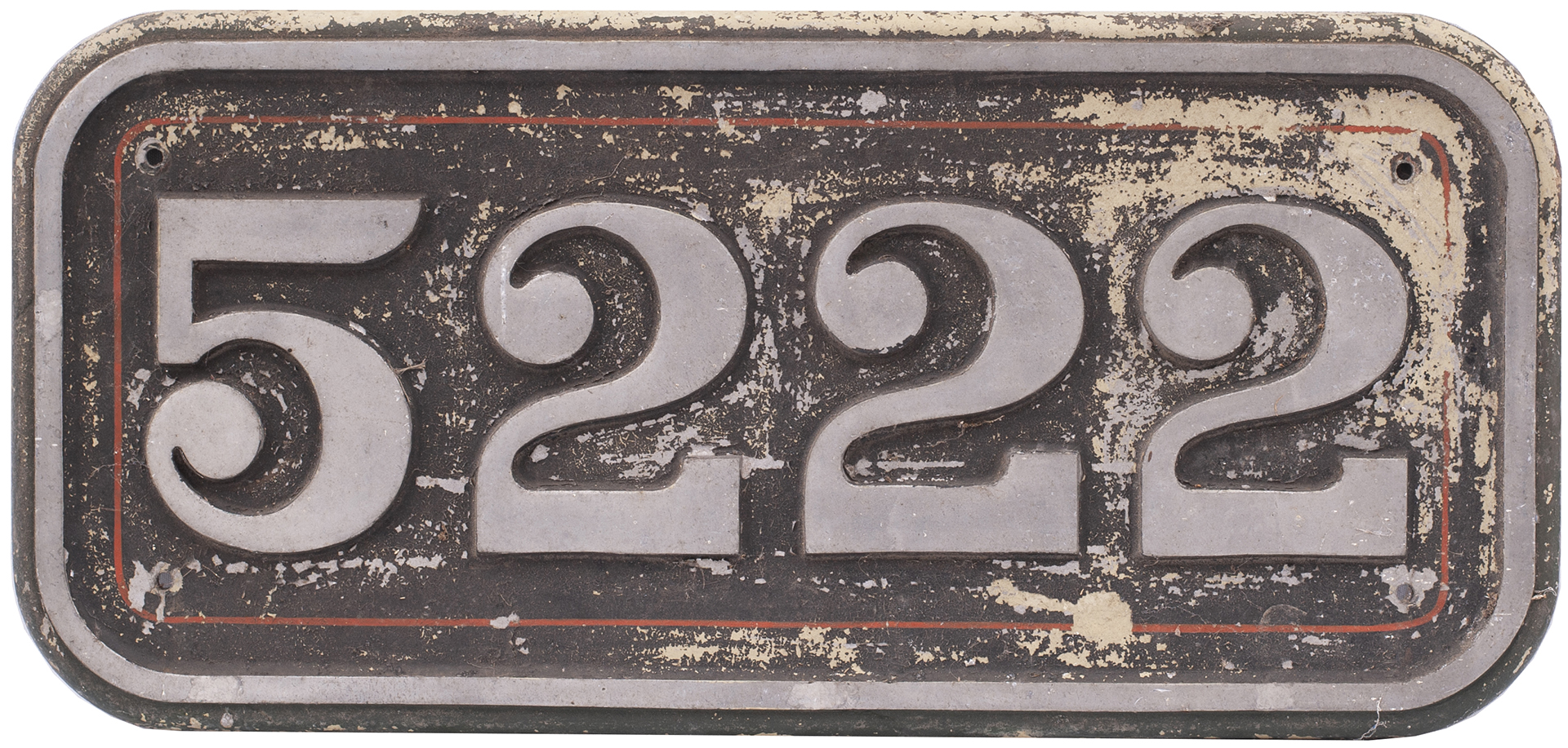 Cabside numberplate 5222 ex British Railways diesel class 25 D5222 / 25072. Built at Derby in 1963