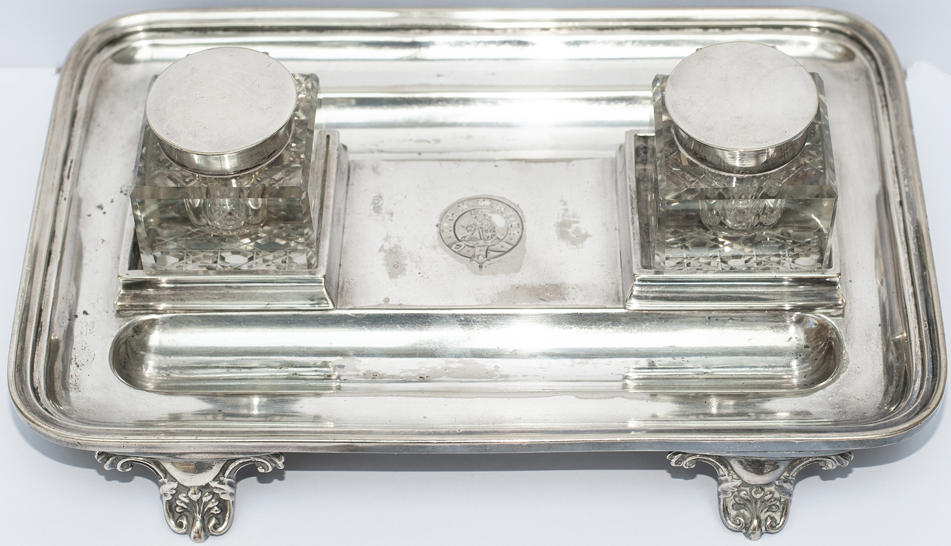 London & North Western Railway silverplate DESK PEN HOLDER AND INKWELL SET marked in the centre with